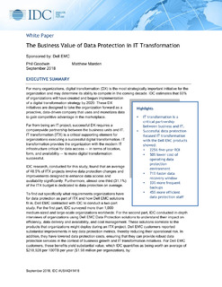 The Business Value of Data Protection in IT Transformation