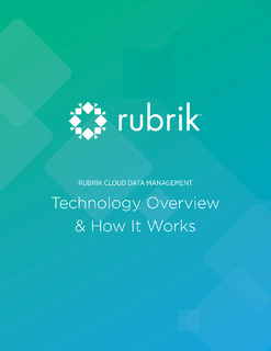Rubrik Cloud Data Management: Technology Overview & How it Works