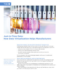 Just-In-Time Data: How Data Virtualization Helps Manufacturers