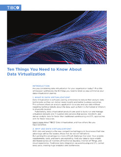 Ten Things You Need to Know About Data Virtualization