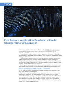 Five Reasons Application Developers Should Consider Data Virtualization