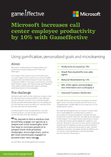 Microsoft increases call center employee productivity by 10% with Gameffective