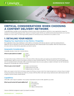 Checklist: Critical Consideration When Choosing A Content Delivery Network