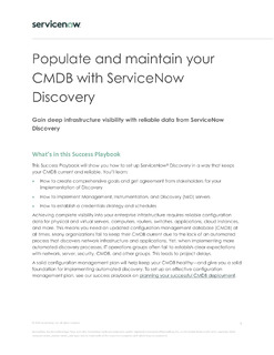 Populate and maintain your CMDB with ServiceNow Discovery