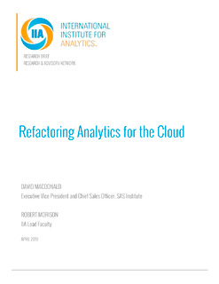 Refactoring Analytics for the Cloud
