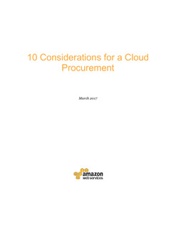 10 Considerations for a Cloud Procurement