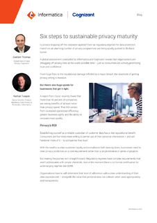 Six steps to sustainable privacy maturity