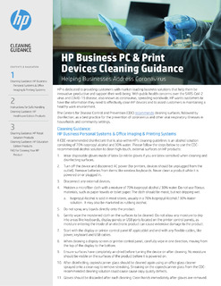 HP Business PC & Print Devices Cleaning Guidance