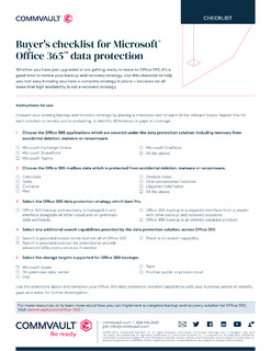 Buyer's checklist for Microsoft® Office 365™ data protection