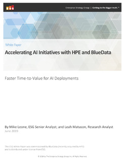 ESG: Accelerating AI Initiatives with HPE and BlueData