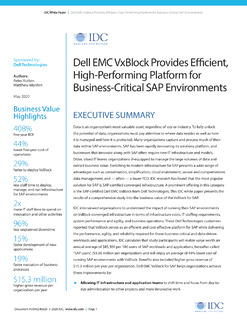 Dell EMC VxBlock Provides Efficient, High-Performing Platform for Business-Critical SAP Environments