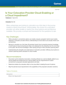 Gartner – Is Your Colocation Provider Cloud-Enabling or a Cloud Impediment?