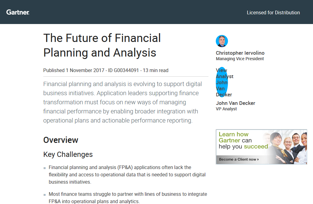 'The Future of Financial Planning and Analysis' by Gartner