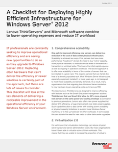 A Checklist for Deploying Highly Efficient Infrastructure for Windows® Server 2012