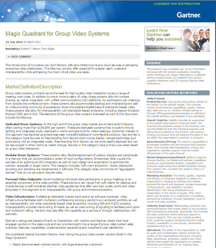 2015 Gartner Magic Quadrant: Group Video Systems Offer