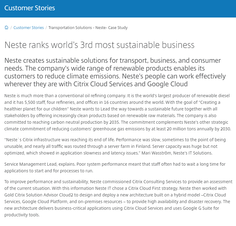 Neste Ranks World's 3rd Most Sustainable Business