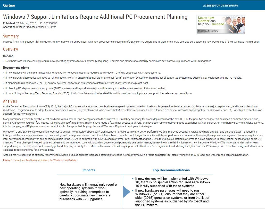 Windows 7 Support Limitations Require Additional PC Procurement Planning