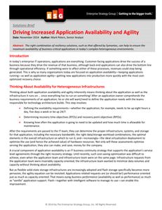 ESG Solution Brief: Driving Increased Application Availability and Agility