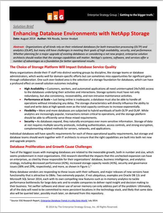 ESG Brief: Enhancing Database Environments with NetApp Storage