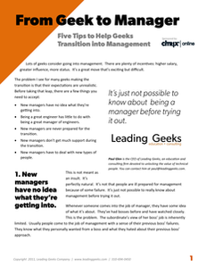 From Geek to Manager: 5 Tips to Help Geeks Transition into Management