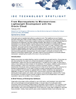 From Macrosystems to Microservices Lightweight Development with the Oracle Cloud