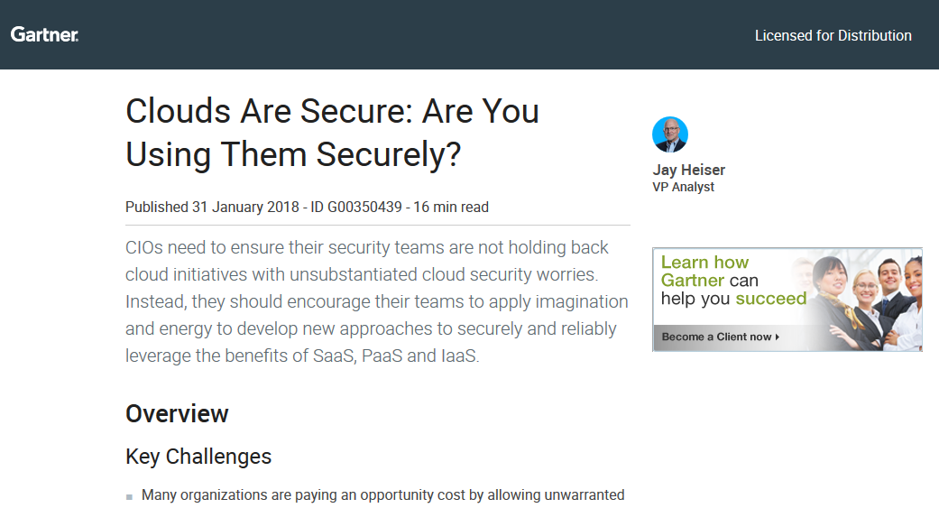 Gartner Reprint – Clouds Are Secure: Are You Using Them Securely?
