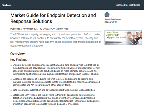 Gartner Market Guide for Endpoint Detection and Response Solutions