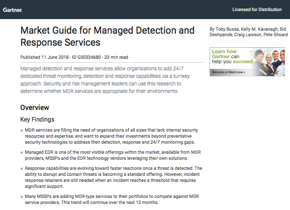Gartner Market Guide for Managed Detection and Response Services
