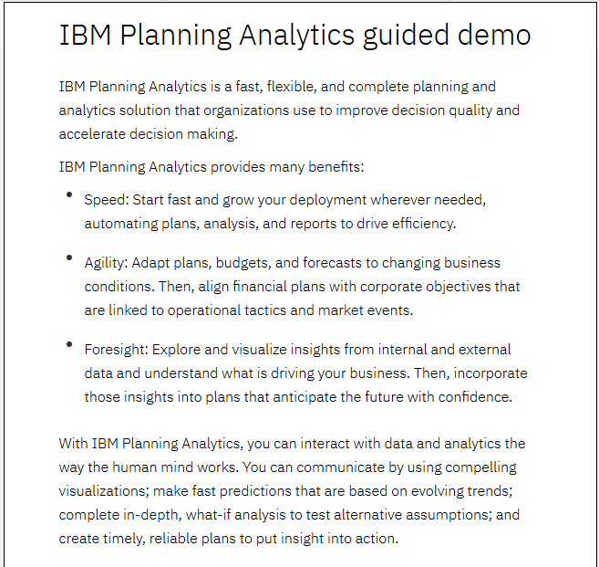 IBM Planning Analytics guided demo: Build a book for revenue planning