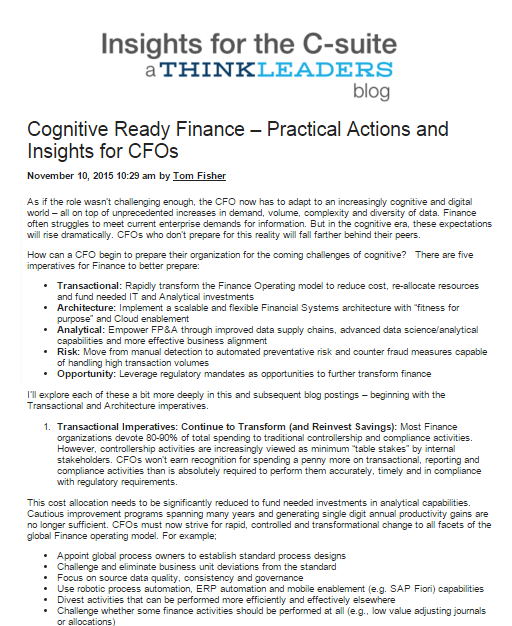 Cognitive Ready Finance – Practical actions and insights for CFOs