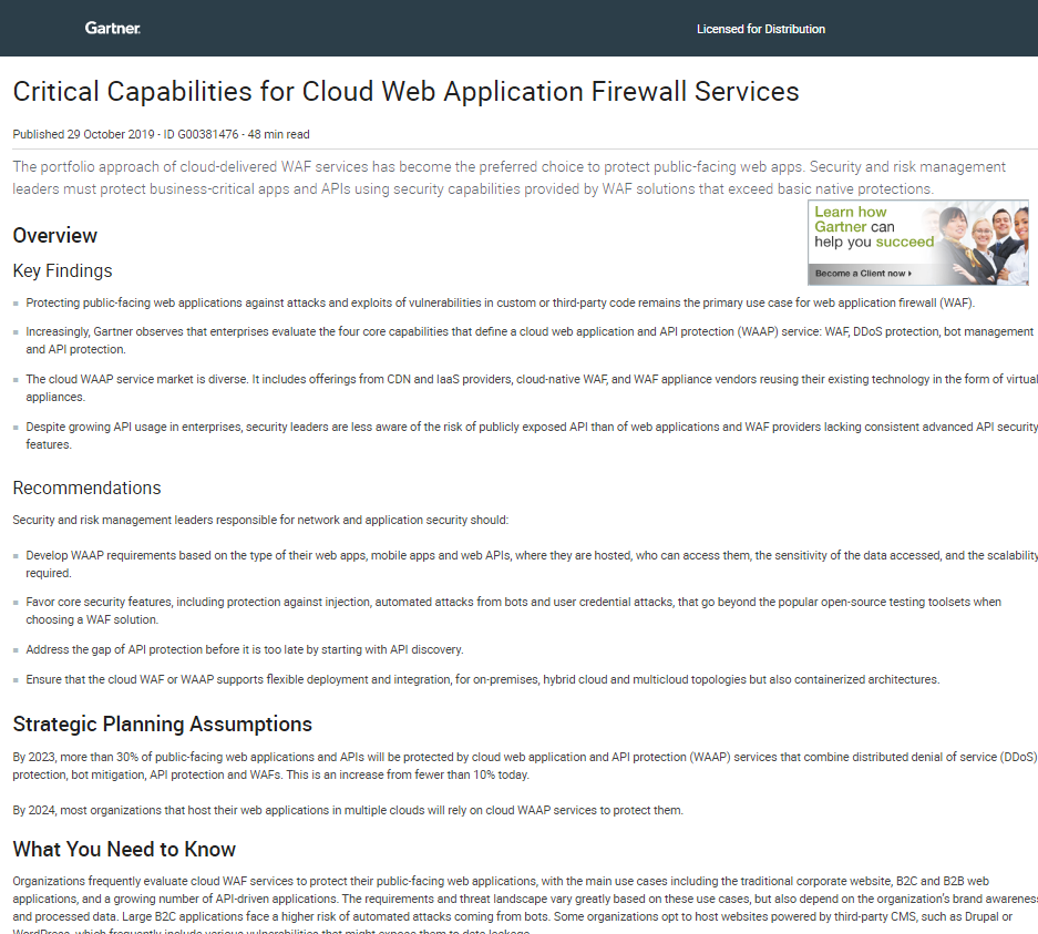 Gartner Report: Critical Capabilities for Cloud Web Application Firewall Services