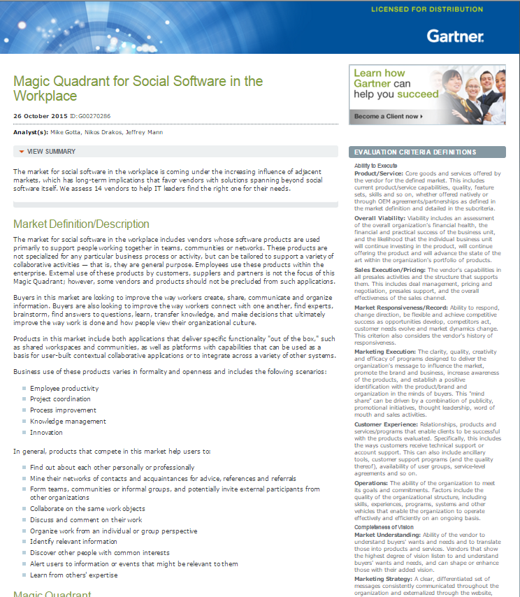 Gartner Magic Quadrant for Social Software in the Workplace
