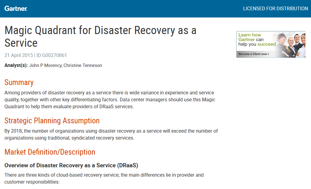 Gartner MQ on Disaster Recovery as a Service