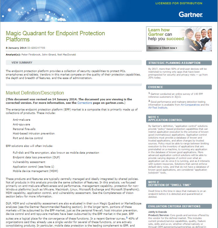 Gartner Magic Quadrant for Endpoint Protection