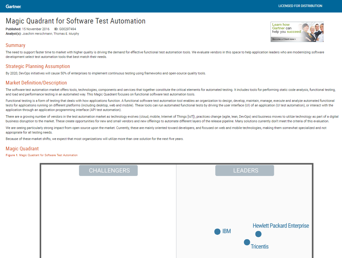 Magic Quadrant for Software Test Automation