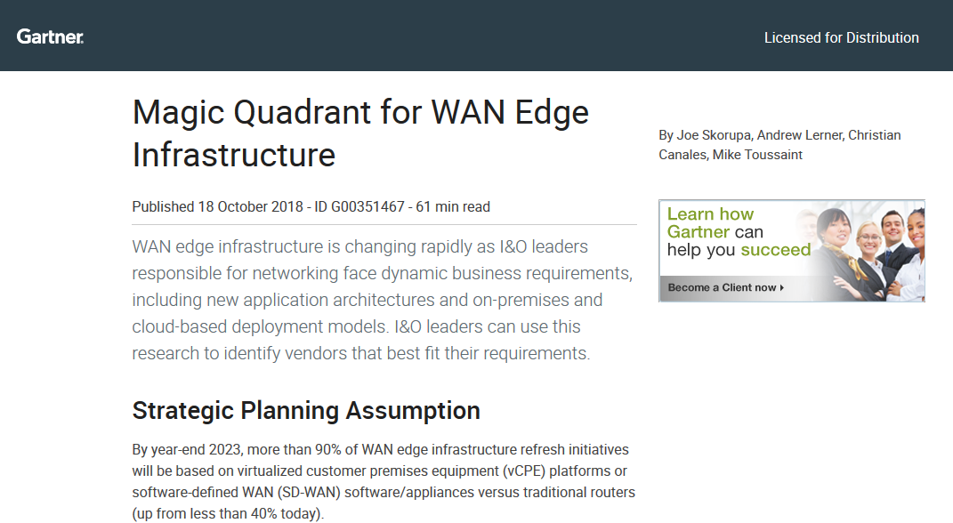 Magic Quadrant for WAN Edge Infrastructure