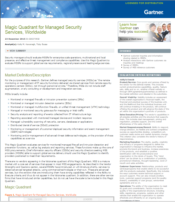 2015 Gartner Group Magic Quadrant on Managed Security Services