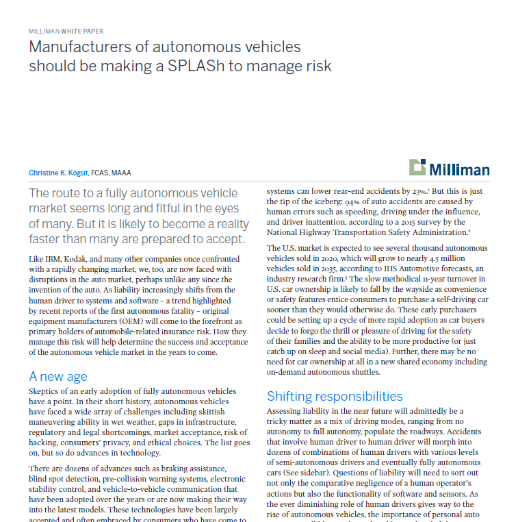 For Manufacturers of Self-Driving Cars, Managing Risk will not be Autonomous