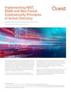 NIST, ESAE and Red Forest Cybersecurity Principles in Active Directory