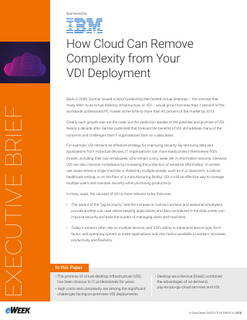 How Cloud Can Remove Complexity from Your VDI Deployment