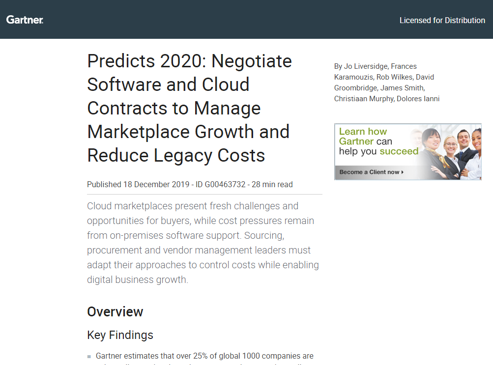 Gartner Research Report − Predicts 2020: Negotiate Software and Cloud Contracts to Manage Marketplace Growth and Reduce Legacy Costs