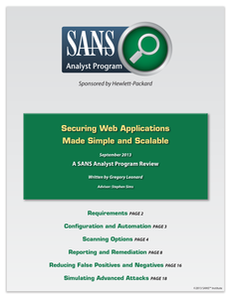 SANS – Securing Web Applications Made Simple and Scalable