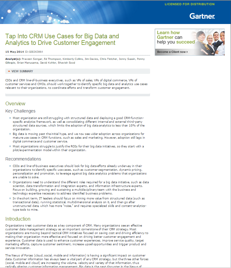 Gartner Research: Tap Into CRM Use Cases for Big Data and Analytics to Drive Customer Engagement