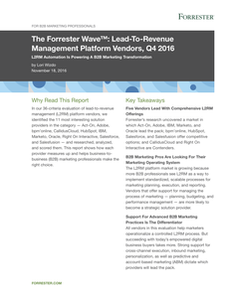 The Forrester Wave: Lead-To-Revenue Management Platform Vendors, Q4 2016