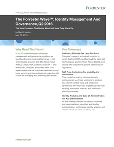 The Forrester Wave: Identity Management And Governance, Q2 2016