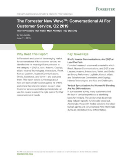 The Forrester New Wave™: Conversational AI For Customer Service, Q2 2019