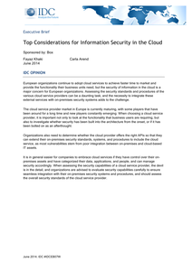 Top Considerations for Information Security in the Cloud