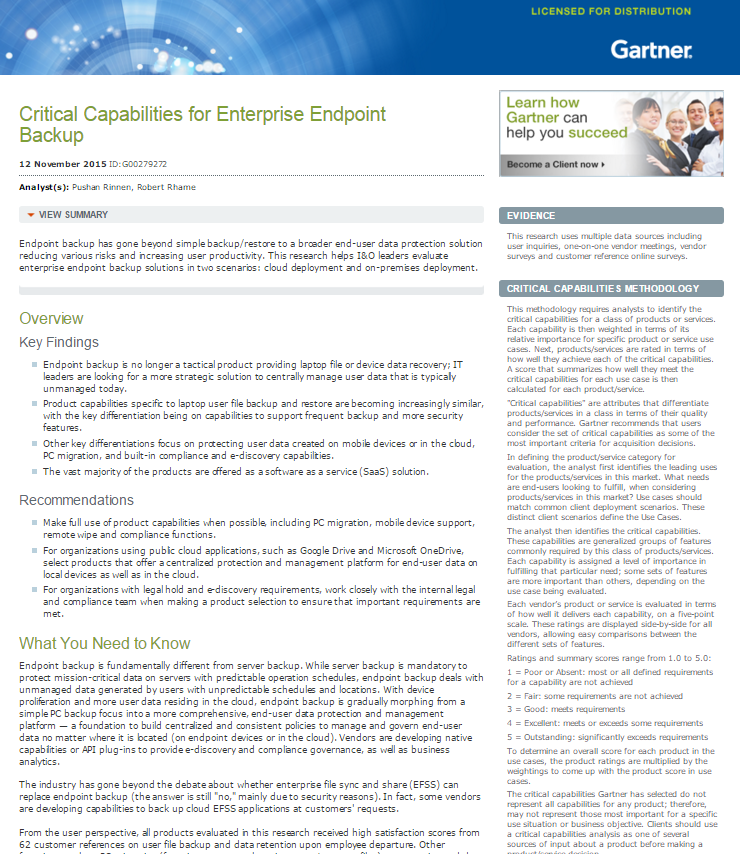 Critical Capabilities for Enterprise Endpoint Backup