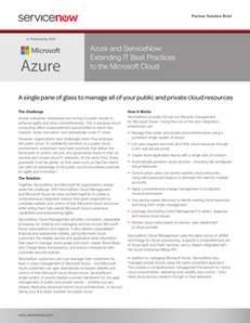 Azure and ServiceNow: Extending IT Best Practices to the Microsoft Cloud