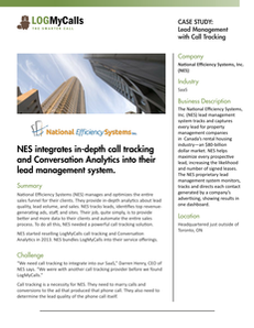 NES integrates in-depth call tracking and Conversation Analytics into their lead management system.